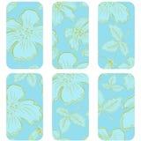 Blått märker med blommor Royaltyfria Bilder