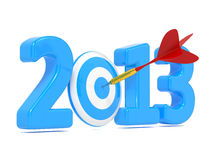 Blått mål för nästa whit för nytt år och röd pil. Royaltyfria Bilder