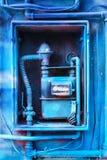 Blått målad gasmeter Arkivfoton