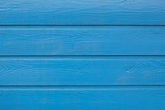 Blått målade wood plankor Utrymme för text Royaltyfri Bild