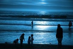blått månsken för strand Fotografering för Bildbyråer