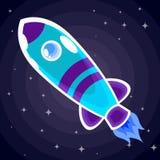 Blått med raket för lilabandutrymme med en hyttventil flyger i utrymme bland stjärnorna Royaltyfria Bilder