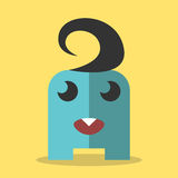 Blått monster med tanden Arkivbild