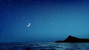 Blått natthimmel och hav för vektor med massor av stjärnor royaltyfri illustrationer