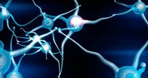 Blått Neuronsynapsenätverk med röd elektrisk impulsaktivitet som är i stånd till att kretsa royaltyfri illustrationer