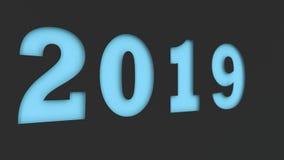 Blått 2019 numrerar snittet i svartpapper Royaltyfri Bild
