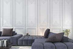 blått- och bruntsoffan för tolkning 3d ställde in i klassiskt lyxigt vitt rum stock illustrationer