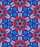 Blått och den röda blomman mönstrar Arkivfoton