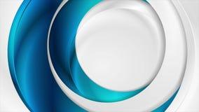 Blått och för cirkelvideo för grå färger abstrakt glansig animering stock video