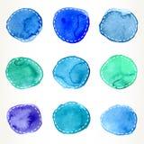 Blått och gräsplan rusade vattenfärgcirklar Royaltyfri Fotografi