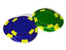 Blått- och gräsplanhög av pokerchiper arkivbilder