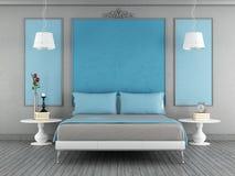 Blått och grått sovrum Royaltyfri Bild