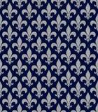 Blått och Gray Fleur De Lis Textured Fabric Background Royaltyfri Bild