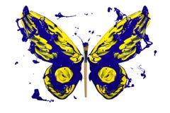 Blått- och gulingfärgstänkmålarfärg gjorde fjärilen royaltyfri illustrationer