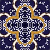 Blått- och gulingtegelplatta royaltyfri illustrationer