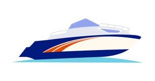 Blått och orange hastighetsmotorbåt på vit bakgrund royaltyfri illustrationer
