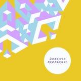 Blått och purpurfärgad isometrisk abstraktion i plan stil på gula lodisar Vektor Illustrationer