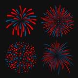 Blått och röd abstrakt för stilvektor för fyrverkeri 4 design vektor illustrationer