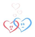 Blått och röda förälskelsehjärtor tillsammans stock illustrationer