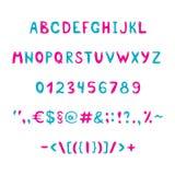 Blått och rosa alfabet och diagram Royaltyfria Foton