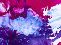 Blått- och rosa färgabstrakt begrepphanden målade bakgrund, akrylmålning Royaltyfri Fotografi