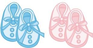 Blått och rosa färger behandla som ett barn skor stock illustrationer