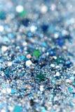 Blått och silver fryste mousserande stjärnor för snövinter blänker bakgrund Ferie jul, abstrakt begrepptextur för nytt år Royaltyfri Bild