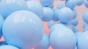 Blått- och vitballong som svävar svängtappgarnering i parti för födelsedagårsdagberöm stock video