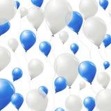 Blått- och vitballongbakgrund Royaltyfri Foto