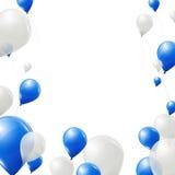 Blått- och vitballongbakgrund Arkivfoton