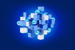 blått- och vitkub för tolkning 3d på en färgbakgrund Royaltyfria Bilder