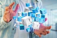 blått- och vitkub för tolkning 3d på en futuristisk manöverenhet Arkivbilder