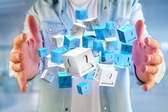 blått- och vitkub för tolkning 3d på en futuristisk manöverenhet Royaltyfria Bilder