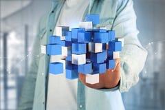 blått- och vitkub för tolkning 3d på en futuristisk manöverenhet Arkivfoton
