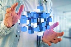 blått- och vitkub för tolkning 3d på en futuristisk manöverenhet Arkivbild