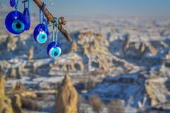 Blått ont öga (det turkiska ögat), Capaddocia, Turkiet Royaltyfri Bild