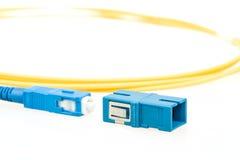 Blått optiskt SC-kontaktdon för fiber Arkivfoto