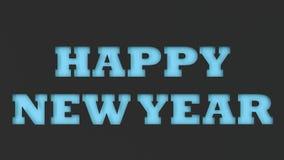 Blått ordsnitt för lyckligt nytt år i svartpapper Royaltyfria Bilder