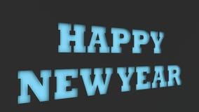 Blått ordsnitt för lyckligt nytt år i svartpapper Arkivfoton