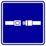 blått platstecken för bälte Fotografering för Bildbyråer