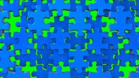 Blått pussel på grön chromatangent stock video