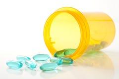 blått recept för pills för flaskgreen royaltyfria bilder