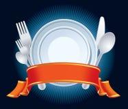 Blått restaurangtecken vektor illustrationer