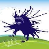 Blått roligt monster för din design Arkivbild