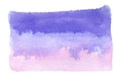 Blått-rosa färger vattenfärg på vit bakgrund Royaltyfri Fotografi