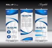 Blått rulla upp banermallen, banerdesignen, annonsering stock illustrationer