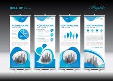 Blått rulla upp banermallen och infographicsen, ställningsdesign stock illustrationer