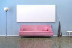 Blått rum med en soffa Royaltyfria Foton