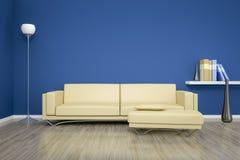 Blått rum med en soffa fotografering för bildbyråer