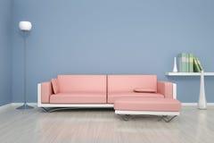 Blått rum med en soffa arkivbild
